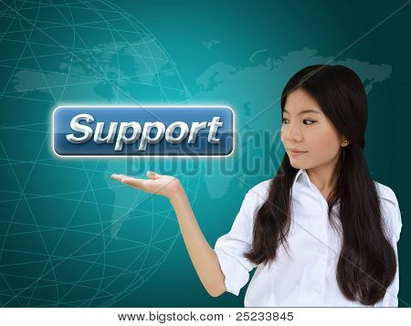 Business Woman With Support Button
