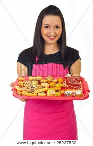 Confectioner Female Offering Cakes