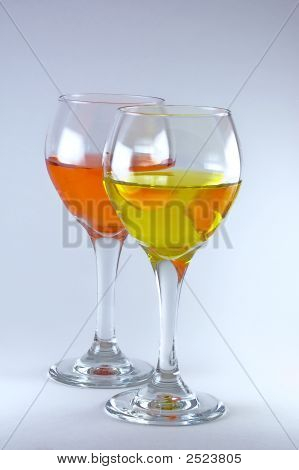Two Wine Glasses With Wine