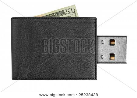 black leather wallet with USB connector, isolated on white background