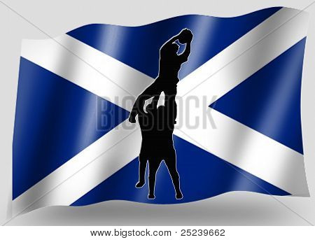 Country Flag Sport Icon Silhouette Scottish Rugby Lineout