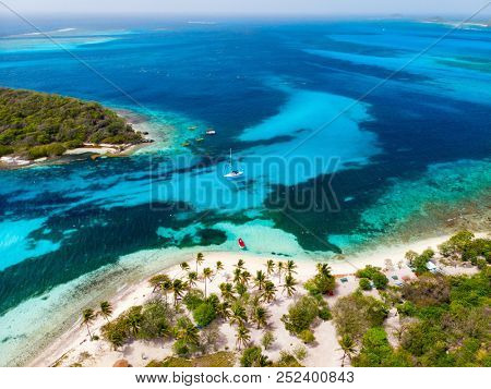 Aerial drone view of tropical