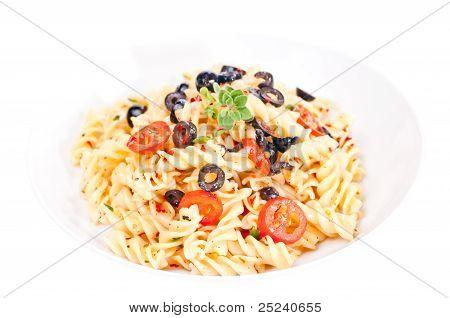 Pasta Aglio Olio In A White Pasta Plate
