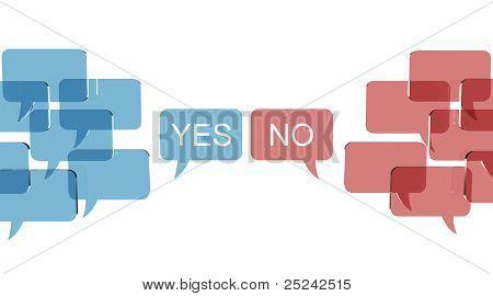 Conversaciones de burbuja con dos opiniones opuestas. Ilustración 3D