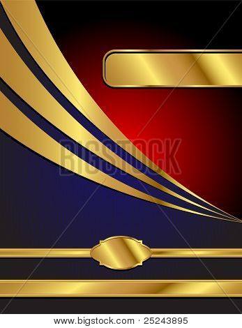 Blue, Red And Gold Modern Vector Background
