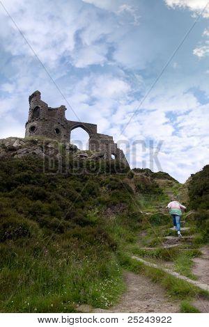 Girl Climbing To Mow Cop Castle