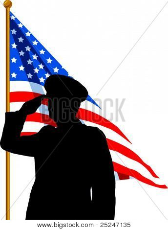 Vector silhouette of a Soldier saluting the American Flag