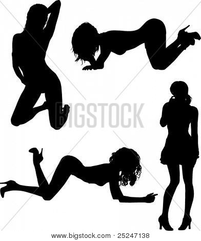 Silhouette vector of sexy women