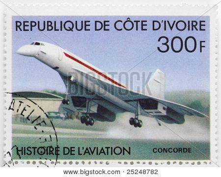 IVORY COAST - CIRCA 1977: A stamp printed in The Ivory Coast shows Aérospatiale-BAC Concorde a turbojet-powered supersonic passenger airliner with 144 seats, circa 1977.