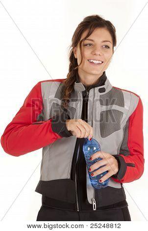 Biker Woman With Water Bottle