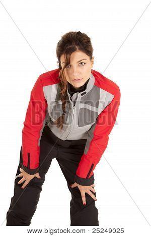 Woman Biker Lean Forward