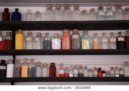 Antique Glass Bottles, Chemistry Purposes