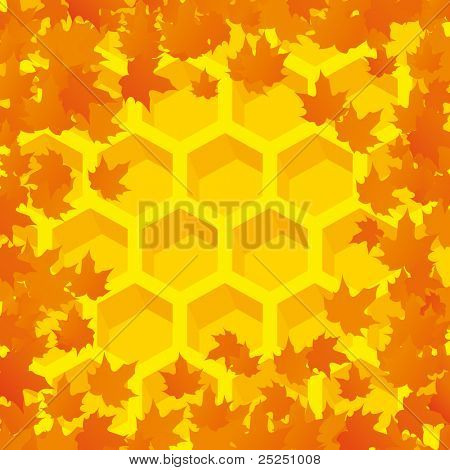 Vector Autumn orange background with maple leaves