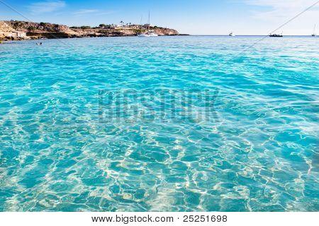 Ibiza cala Conta Conmte in San Antonio truquoise clean water