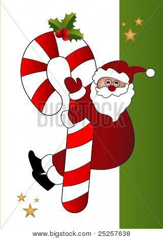 Santa and over-sized candycane