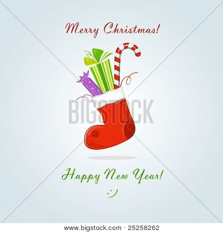 Christmas sock with gift and sweets, vector illustration