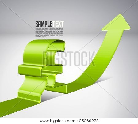 Vector 3D Arrow Moving Upward with Pound Sign