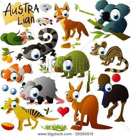 big vector australian animals set