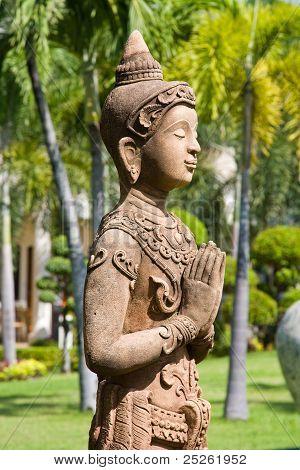 Buddha Statue In Zen Garden