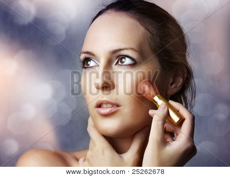 Beauty Portrait Of Sexy Woman Applying Cosmetics.