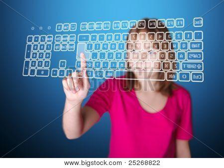 Girl Pressing Enter On Virtual Keyboard