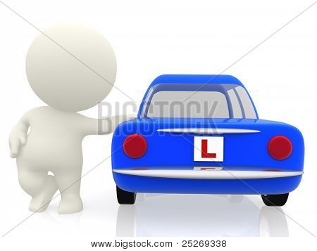 3D man learning to drive in a car with an L sign - isolated
