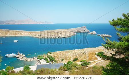 Panarama View From Acropolis Of Lindos, Rhodes Island, Greece