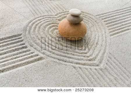 Zen garden with heart