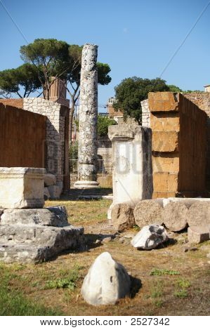 Marble Columns And Ruins Rome Italy