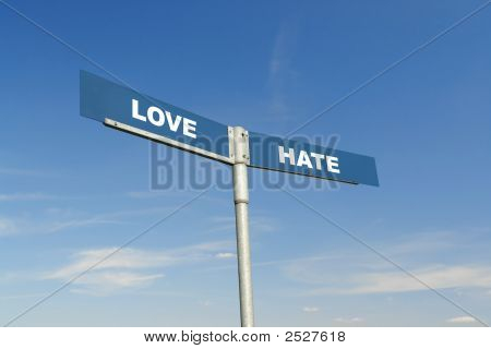 Love And Hate Signpost
