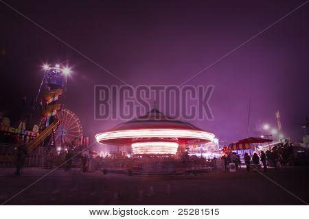 Carnival Rides And Games At Night