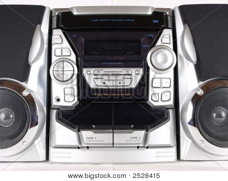 silberne Boom Box Stereo front