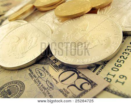Dollars, Gold And Silver U.s. Money
