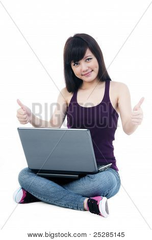 Cute Female With Laptop Giving Thumbs Up Sign