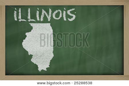 Outline Map Of Illinois On Blackboard