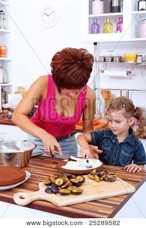 Preparing A Plum Cake