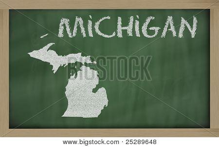 Outline Map Of Michigan On Blackboard
