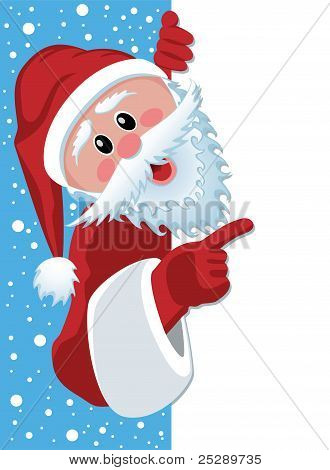 Santa Claus Holding Blank Paper
