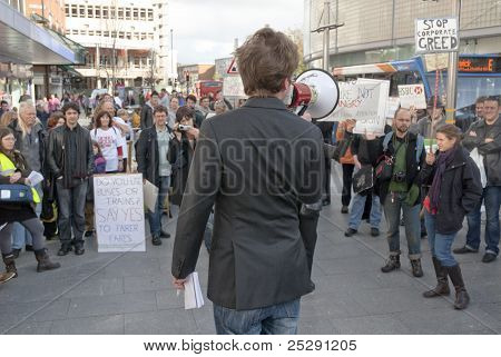 The Poet, Playwright And DirectorAdam Brummitt Addresses The Occupy Exeter Participants During The R