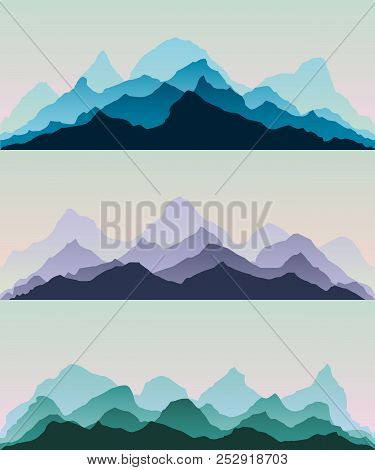 poster of Majestic Mountains.the Abstract Vector Image Reforestation In The Foreground And Different Levels Of