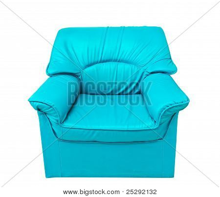 The Blue Leather Sofa Isolated On White
