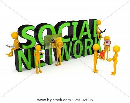 Social network concept over white