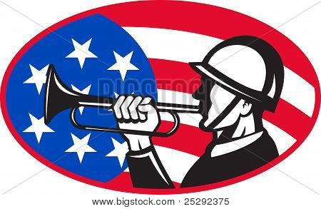 American Soldier With Bugle And Flag