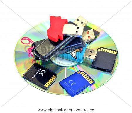Unidades Flash USB, tarjetas SD, CD-ROM