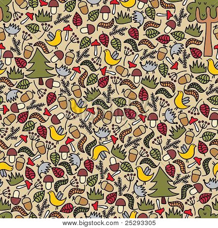Seamless pattern with autumn forest.