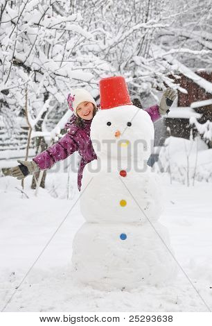 snowman and girl