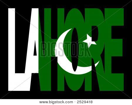 Lahore Text With Pakistani Flag