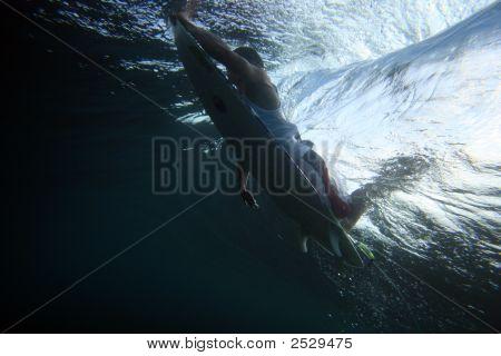 Surfer Ducks Wave