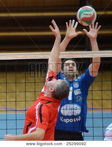 KAPOSVAR, HUNGARY - NOVEMBER 13: Andras Geiger (R) in action at a Hungarian National Championship volleyball game Kaposvar (blue) vs. Nyiregyhaza (red), November 13, 2011 in Kaposvar, Hungary.