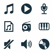 Audio Icons Set With Vinyl, Radio, Microphone And Other Sound Elements. Isolated  Illustration Audio poster